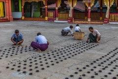 setting up lights at the Lawka Nandar Pagoda